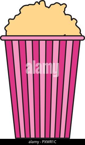 bucket with popcorn food cinema film movie vector illustration - Stock Photo