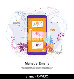 Manage emails concept. Touch screen phone with a list of incoming letters - Stock Photo