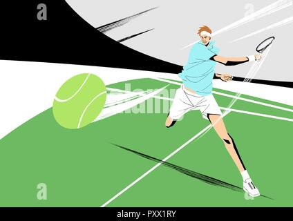 Various sports players with dynamic colorful scratched vector illustration 022 - Stock Photo