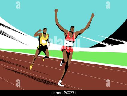 Various sports players with dynamic colorful scratched vector illustration 012 - Stock Photo