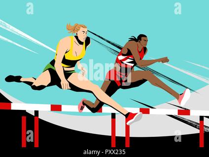 Various sports players with dynamic colorful scratched vector illustration 011 - Stock Photo
