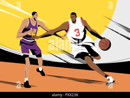 Various sports players with dynamic colorful scratched vector illustration 009 - Stock Photo