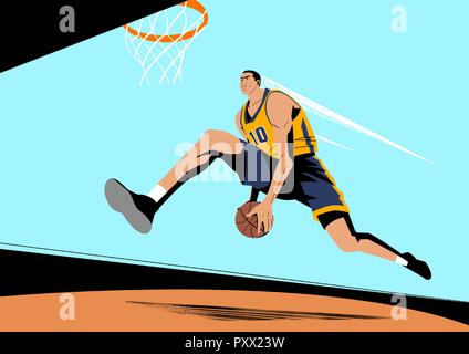 Various sports players with dynamic colorful scratched vector illustration 008 - Stock Photo