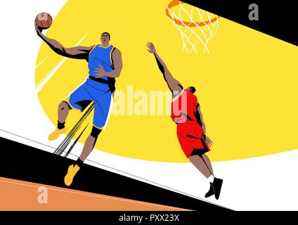 Various sports players with dynamic colorful scratched vector illustration 007 - Stock Photo