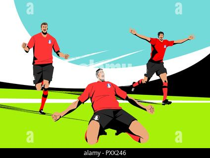 Various sports players with dynamic colorful scratched vector illustration 003 - Stock Photo