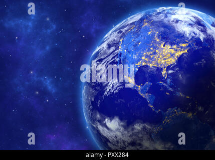 Planet Earth in space. North and South America. Elements of this image furnished by NASA. 3D rendering. - Stock Photo