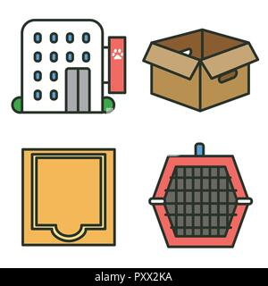 Flat veterinary icons set. use for web and mobile UI, set of basic veterinary elements isolated vector illustration 031 - Stock Photo