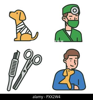 Flat veterinary icons set. use for web and mobile UI, set of basic veterinary elements isolated vector illustration 005 - Stock Photo