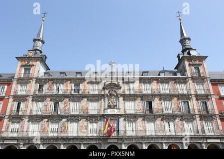 The baroque and neoclassical Baker's House (Casa de la Panadería) building in the Main Square (Plaza Mayor) of Madrid, Spain - Stock Photo