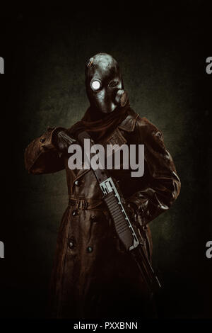 Portrait of a post apocalyptic warrior - Stock Photo