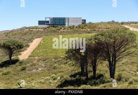 The Waterkloof Wine Estate in Somerset West, Western Cape, South Africa. Overlooking False Bay on the coast. - Stock Photo