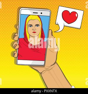 Online dating, long distance relationship concept. Hand holding phone making video call with loved one. Smartphone with girlfriend on screen. Vector i - Stock Photo