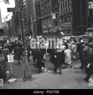 1950s, historical, daytime and New Yorkers at W42 street, a major crosstown street in Manhattan, New York city, USA. - Stock Photo