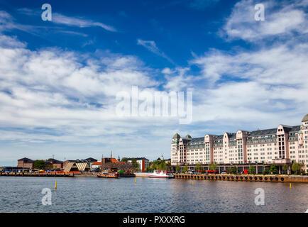 Bjorvika embankment  with Havnelageret building in Central Oslo Norway, Scandinavia - Stock Photo