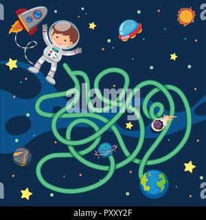 Puzzle game template with astronaut flying in space illustration - Stock Photo