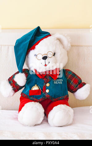 Grandpa Bear teddy bear soft cuddly toy by DanDee - one of Grandparents Limited Edition teddies (for Grandma Bear see PXY0A2) - Stock Photo
