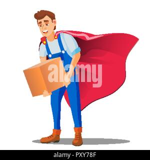 Delivery Service, Man In Superhero Uniform With Box In Hand Vector. Isolated Illustration - Stock Photo