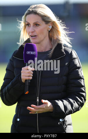 Bt Sport pundit Kelly Smith ex England international during the Women's Super League match at the Automated Technology Group Stadium, Solihull - Stock Photo