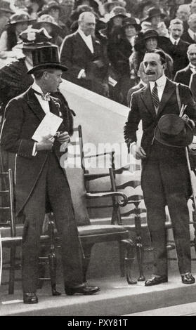 The Prince of Wales, left, and Alfonso XIII, right, at a polo match during a visit of the Spanish king to England.  Prince of Wales, future Edward VIII, 1894 – 1972.  Alfonso XIII, 1886 – 1941.  King of Spain.  From La Esfera, published 1921. - Stock Photo