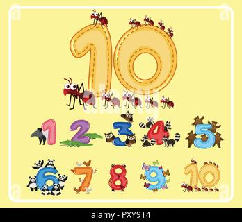 Numbers from One to Ten with Cute Animals illustration - Stock Photo