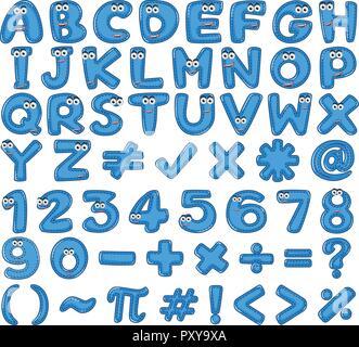 Blue English Alphabet and Number illustration - Stock Photo