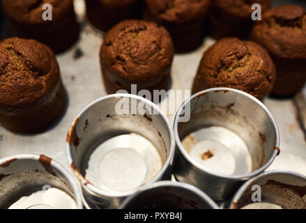 Freshly baked muffins sitting with tins on a bakery counter - Stock Photo