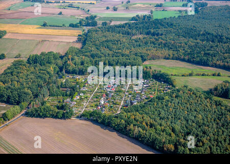Aerial view of a colony of allotment gardens in the middle of arable land between small woods - Stock Photo