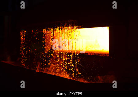 Heavy forging steelmaking plant and steelmaking workshop. Oven. Water curtain. Metal work.  High temperature in the melting furnace. Steelmaking plant - Stock Photo