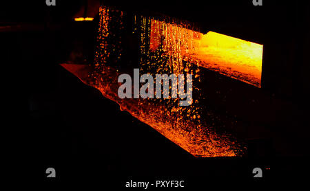 Heavy forging steelmaking plant and steelmaking workshop. Oven. Water curtain. Fire furnace. For abstract background and texture. - Stock Photo