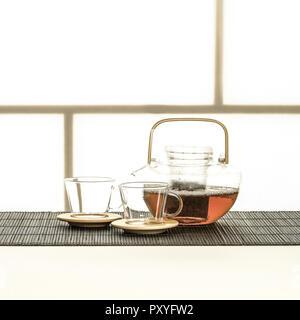 Teekanne und Tassen aus Glas - Stock Photo