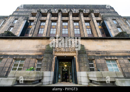 Exterior of entrance to St Andrews House the home of the Scottish Government in Edinburgh, Scotland, UK - Stock Photo