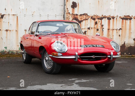 1964 Jaguar E Type at Bicester heritage centre autumn sunday scramble event. Bicester, Oxfordshire, UK - Stock Photo