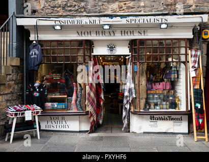 Exterior of Moubray House a traditional shop selling tweed, cashmere and kilts on the Royal Mile in Edinburgh, Scotland, UK - Stock Photo