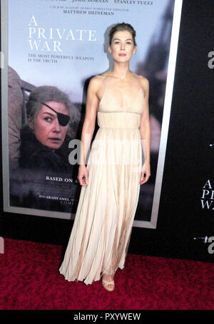 Beverly Hills, California, USA. 24th October, 2018. Actress Rosamund Pike attends the Los Angeles Premiere of Aviron Pictures' 'A Private War' at Samuel Goldwyn Theater in Beverly Hills, California. Photo by Barry King/Alamy Live News - Stock Photo