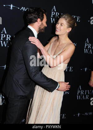 Beverly Hills, California, USA. 24th October, 2018. Actor Jamie Dornan and actress Rosamund Pike attend the Los Angeles Premiere of Aviron Pictures' 'A Private War' at Samuel Goldwyn Theater in Beverly Hills, California. Photo by Barry King/Alamy Live News - Stock Photo