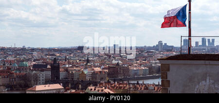 Prague, Czech Republic. 11th Apr, 2018. View from Prague Castle to the city centre and Charles Bridge. On 28 October 1918 Czechoslovakia declared its independence from Austria-Hungary. In the Moldaum metropolis there is a big party. (to dpa '100 years Czechoslovakia - Prague celebrates in white-red-blue' from 25.10.2018) Credit: Monika Skolimowska/dpa-Zentralbild/dpa/Alamy Live News - Stock Photo