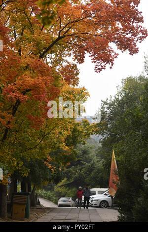 Beijing, China. 25th Oct, 2018. Tourists visit Badachu Park in Beijing, capital of China, Oct. 25, 2018. Credit: Li Jundong/Xinhua/Alamy Live News - Stock Photo