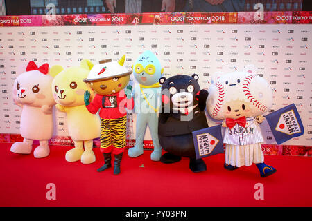 Tokyo, Japan. 25th Oct, 2018. Mascots pose for photo during an opening ceremony of Tokyo International Film Festival in Tokyo, Japan, on Oct. 25, 2018. Credit: Ma Caoran/Xinhua/Alamy Live News - Stock Photo