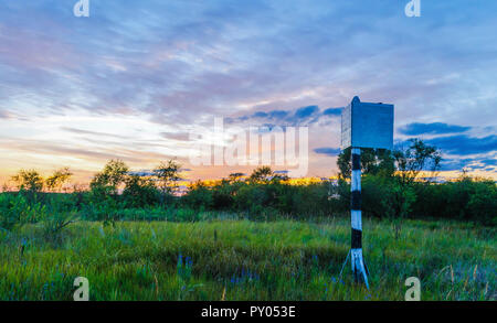 Mystical sunset on the background of a beautiful sky and green vegetation on nature. Belarusian Polesie. Pripyat - Stock Photo