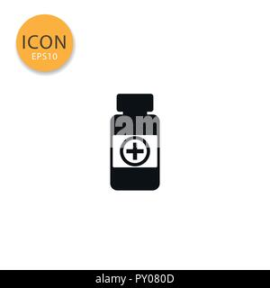 Medicine pills bottle icon flat style in black color vector illustration on white background. - Stock Photo