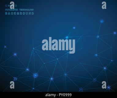Abstract of techonology background in blue glowing line digital. illustration vector eps10