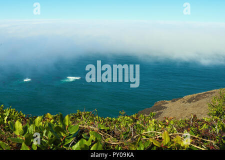 View from the top to the beach of the Pacific Ocean on a foggy morning - Stock Photo