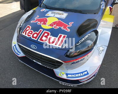 Ford Fiesta RS WRC rally car as driven by Sebastien Ogier and co-driver Julien Ingrassia shown at donnington park race circuit at the RS owners club national day 2017 fresh from a rally with battle scars - Stock Photo