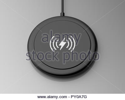 3d rendered angled view of a black wireless charger with a rounded edge and flat base on a grey background. - Stock Photo
