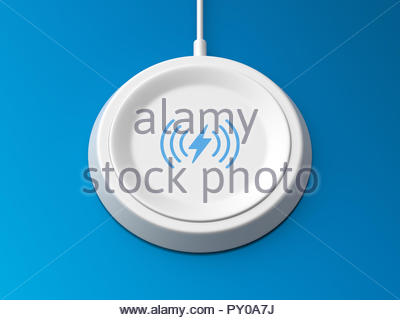 3d rendered angled view of a white wireless charger with a bevelled edge and recessed base on a blue background. - Stock Photo
