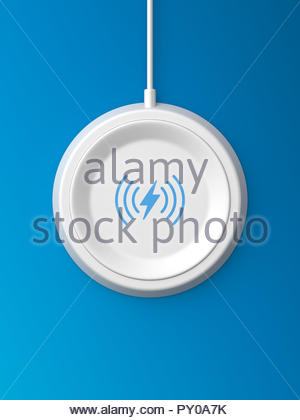 3d rendered top view of a white wireless charger with a bevelled edge and recessed base on a blue background. - Stock Photo