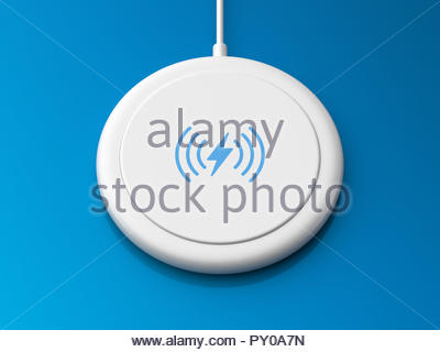 3d rendered angled view of a white wireless charger with a rounded edge and flat base on a blue background. - Stock Photo