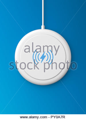 3d rendered top view of a white wireless charger with a rounded edge and flat base on a blue background. - Stock Photo