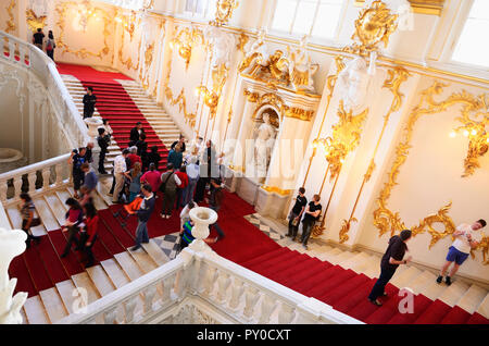 Main staircase of the Winter Palace. The State Hermitage Museum. Saint Petersburg, Northwestern, Russia. - Stock Photo
