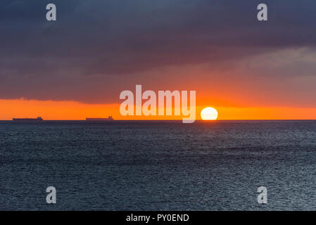 View of the seascape at sunset in Playa Lagun, Curacao, Netherlands. Copy space for text - Stock Photo